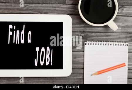 Trouver un emploi mots sur digital tablet Banque D'Images
