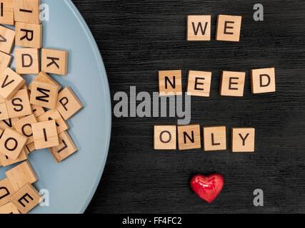 Nous avons besoin de l'orthographe des lettres en bois seulement l'amour