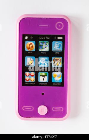 Jouet de l'enfant téléphone mobile isolé sur fond blanc Banque D'Images