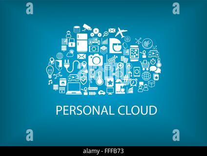 Renseignements personnels l'informatique en nuage pour la domotique Banque D'Images