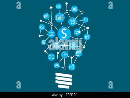 La nouvelle technologie numérique au sein de services financiers. Idée créative trouver représentée par ampoule. Banque D'Images