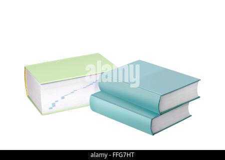Trois grands ouvrages de référence blanc Isolated On White Banque D'Images