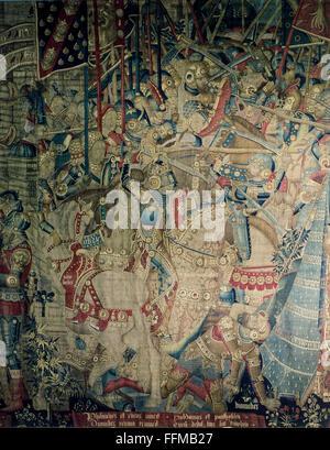 Penthesilea, grec figure légendaire, la reine des Amazones, les combats avec Diomède, tapisserie, détail, Bourgogne, Banque D'Images