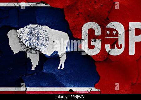 Pavillon du Wyoming et GOP peint sur mur fissuré