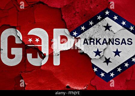 Pavillon du GOP et de l'Arkansas peint sur mur fissuré