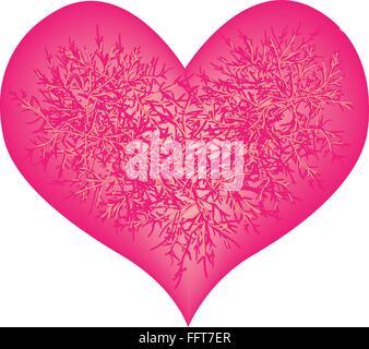 Concept d'amour, de l'illustration des fleurs roses en forme de coeur rose isolé sur fond blanc. Banque D'Images