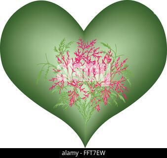 Concept d'amour, de l'illustration des fleurs roses en forme de coeur vert isolé sur fond blanc. Banque D'Images
