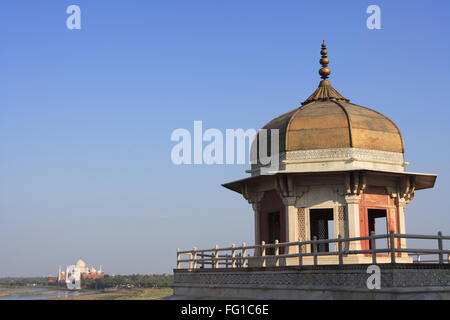 Vue latérale du fort d'Agra construit au 16ème siècle par l'empereur moghol , , Uttar Pradesh , Site du patrimoine Banque D'Images