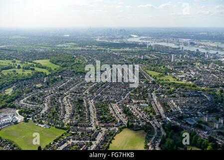 Une vue aérienne des zones de Woolwich et Shooters Hill, dans le sud de Londres