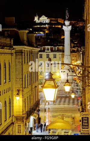 Géographie / voyage, Portugal, Lisbonne Rossio, par nuit, Additional-Rights Clearance-Info ,--Not-Available Banque D'Images