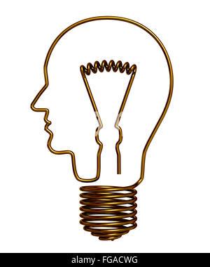Tête de l'homme dans une ampoule. Modèle 3D. Banque D'Images