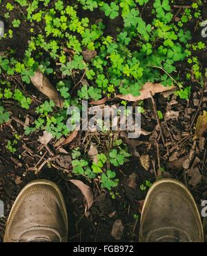 La section basse de l'Homme debout en face de plantes Banque D'Images