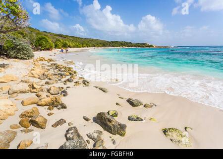 Belle région préservée, tropical désertes de sable et mer turquoise, Half Moon Bay, Antigua, Antigua et Barbuda, Banque D'Images