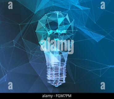 Brancher la lampe poligonal triangle. Le concept de réseau de communication Banque D'Images