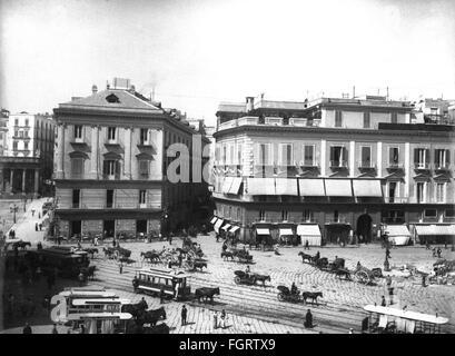 Géographie / voyages, Italie, Naples, places, la Piazza Venezia et la Via Chiaia, vue, fin du xixe siècle, ville, Banque D'Images