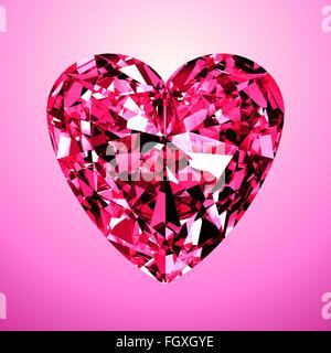 Pink Diamond Heart. Modèle 3D sur fond rose. Banque D'Images