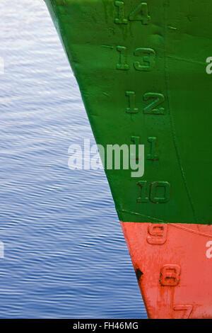 Les marquages sur un navire maritime indiquant la profondeur de l'eau