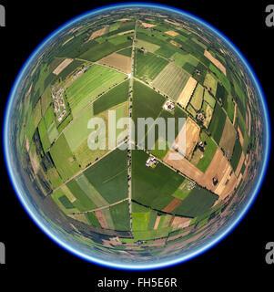 Vue aérienne, route, autoroute, routes de terre, au-dessus de la route, autoroute fédérale, la route entre les champs, Banque D'Images