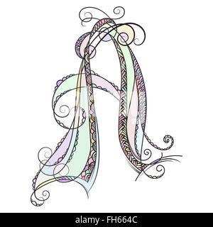 Zentangle monogramme A. Doodle alphabet coloré avec des motifs de caractères et zentangle ornamet Banque D'Images