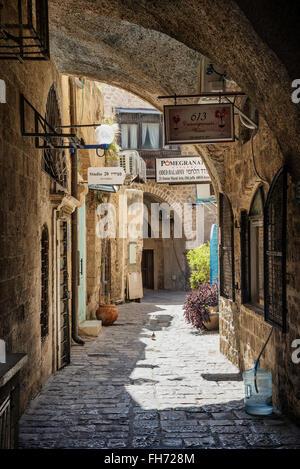 Rue pavée de la vieille ville de Jaffa yafo de Tel Aviv ISRAËL Banque D'Images