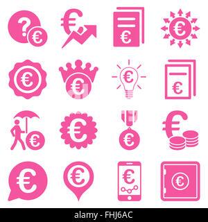 Euro affaires bancaires et outils service icons Banque D'Images