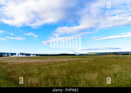 Wide Open Green grassy field sous ciel bleu avec des nuages blancs moelleux geysers avec en arrière-plan.