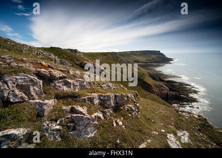 Vue depuis Southgate à Pwlldu Head sur la côte de Gower, S Wales UK