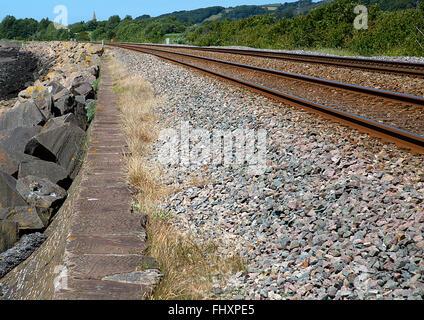Ligne de chemin de fer côtière vide, Millennium Coastal Path, Llanelli, Nouvelle-Galles du Sud Banque D'Images