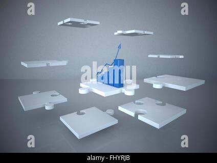 Rendu 3D, concept d'entreprise, le succès croissant, avec schéma de pièces de puzzle blanc Banque D'Images