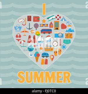 Appartement de vacances l'icône colorée. Background illustration vecteur numérique de voyage. L'infographie d'été. Banque D'Images
