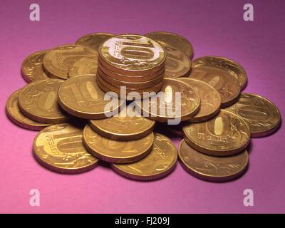 Beaucoup d'argent, tas de petites pièces Banque D'Images