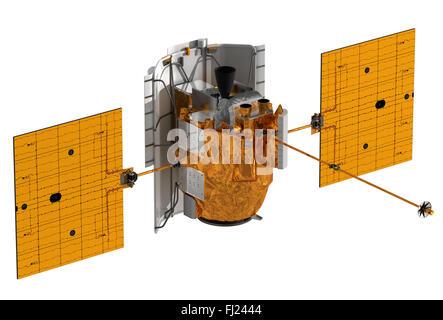 L'espace interplanétaire, Gare au-dessus de fond blanc. Modèle 3D. Banque D'Images