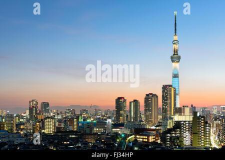 Tokyo, Japon - 9 janvier 2016;: Tokyo Skyline at Dusk, vue du quartier d'Asakusa, Skytree visibles à l'horizon. Banque D'Images