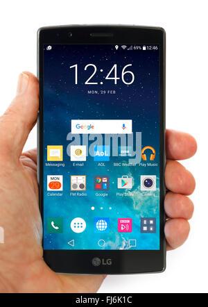 Écran d'accueil sur un LG G4 5,5 pouces Android téléphone sous Android 6 Marshmallow Banque D'Images