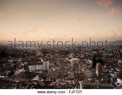 Coucher de soleil sur Grenade, Andalousie, Espagne Banque D'Images
