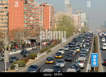 Embouteillage à une autoroute à Beijing, Chine Banque D'Images