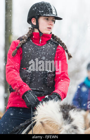 Girl with red jacket, équipement de protection noir gilet et casque sur un fjord horse à une leçon de neige à côté Banque D'Images