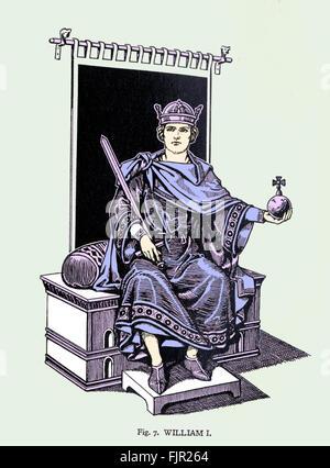 Guillaume le Conquérant (1028-1087) vêtu de la robe d'État, tenant l'orbe et l'épée royale. William J'ai conquis Banque D'Images