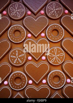Full Frame Shot de coeur et Cercle en chocolat Banque D'Images