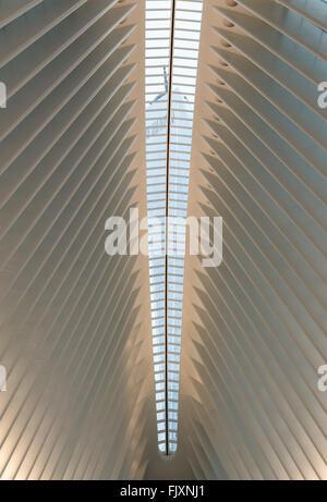 Avis de One World Trade Center (Freedom Tower) à travers les fenêtres du soleil dans le toit de l'Oculus du World Trade Center Transportation Hub conçue par Santiago Calatrava sur le jour de son ouverture.