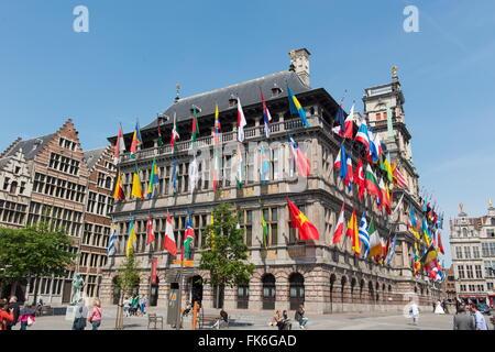 L'Hôtel de Ville d'Anvers, Anvers, Belgique, Europe Banque D'Images