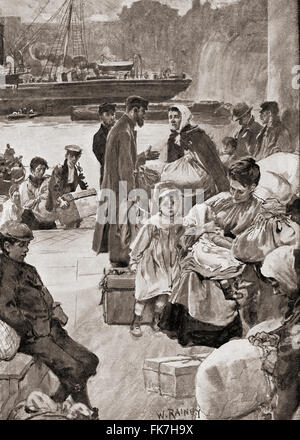Les immigrants qui arrivent à Irongate escaliers, près de la Tour de Londres, Londres, Angleterre à la fin du xixe Banque D'Images