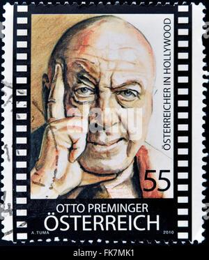 Autriche - circa 2010: timbres en Autriche montre Otto Preminger, vers 2010 Banque D'Images