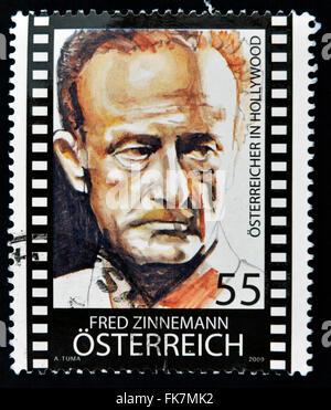 Autriche - circa 2010: timbres en Autriche montre Fred Zinnemann, vers 2010 Banque D'Images