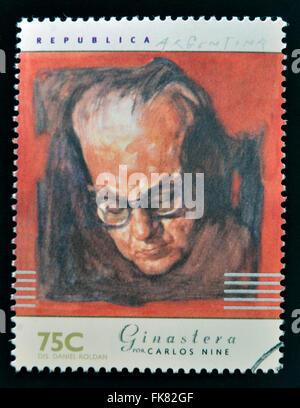 Argentine - circa 1997: timbre imprimé en Argentine dédié aux musiciens argentins, indique Alberto Ginestera par Banque D'Images