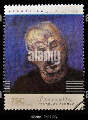 Argentine - circa 1997: timbre imprimé en Argentine dédié aux musiciens argentins, Spectacles Piazzolla par Carlos Banque D'Images
