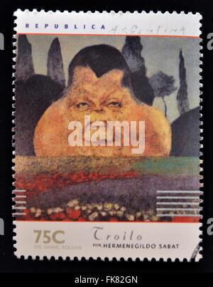 Argentine - circa 1997: timbre imprimé en Argentine dédié aux musiciens argentins, spectacles Anibal Troilo par Banque D'Images
