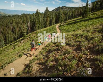 Famille avec trois enfants (10-11, 12-13, 14-15) en marche en montagne Banque D'Images