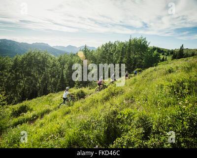 Famille avec enfants (10-11, 12-13, 14-15) Le vélo en montagne Banque D'Images