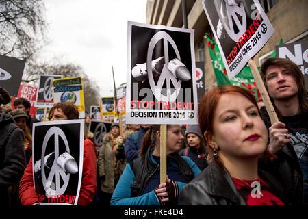 Anti-Trident manifestation à Londres, Royaume-Uni. Feb 27, 2016.